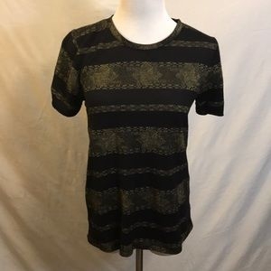 Black & Gold Striped Lucky Brand Tee Small